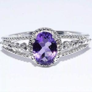 Natural Oval Cut Purple Amethyst Gem Ring